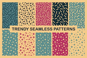 Colorful seamless trendy patterns