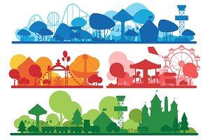 Amusement park silhouette banners