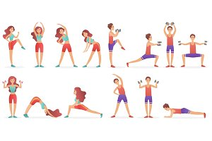Funny people sport fitness poses