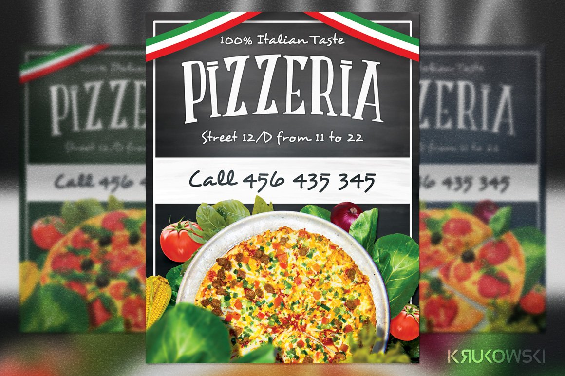 Pizzeria restaurant flyer flyer templates creative market for Pizza sale flyer template