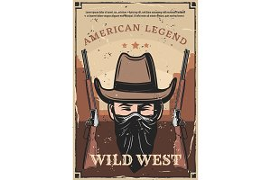 Wild West western bandit and carbine