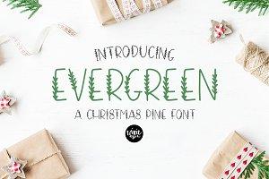 EVERGREEN Christmas Pine Font