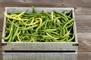 Green and Yellow beans in old crate