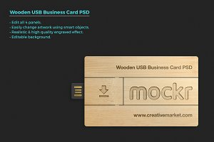 Wooden Usb Business Card Mockup Psd