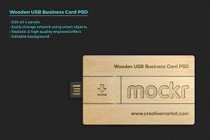 Wooden Usb Business Card Mockup Psd