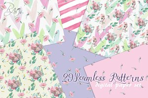 Watercolor seamless pattern paper
