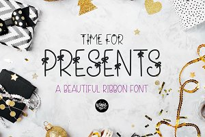TIME FOR PRESENTS Ribbon Font
