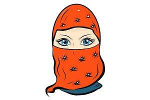 Beautiful oriental woman in a veil