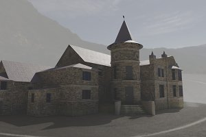 old castle villa in mountain 3d