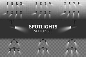 Spotlights. Vector Set.