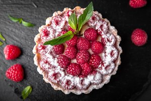 Dessert with raspberries and mint