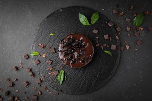 Chocolate cake with prunes and mint