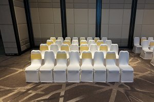 Row of wedding chairs decorated with