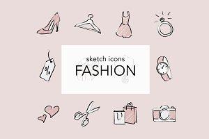 12 Fashion Sketch Icons