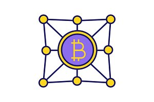 Blockchain network color icon