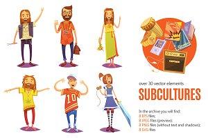 Subcultures Cartoon Set