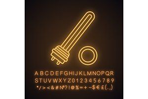 Water heater element neon light icon