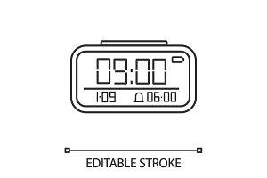 Digital alarm clock linear icon