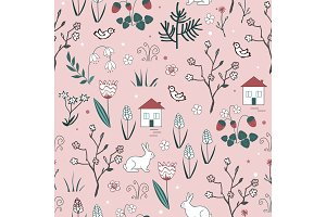 Cute spring vector seamless pattern