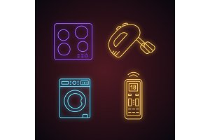 Household appliance neon light icons