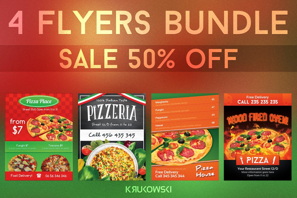 pizzeria flyers bundle flyer templates creative market