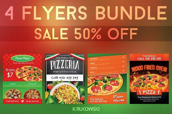 pizzeria flyers bundle flyer templates creative market