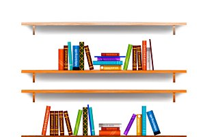 Bookshelves with different books