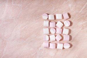 White pink marshmallow