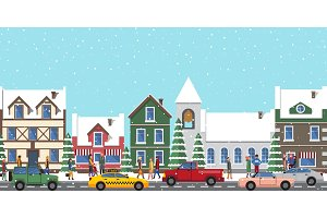 City at Wintertime Poster on Vector