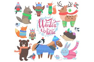 Winter is Here Poster Animals Vector