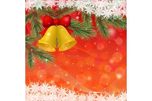 Christmas background with gold bells