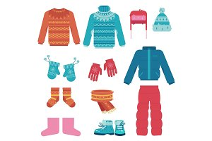 Winter clothes vector illustration