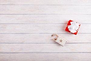 Gift box with christmas decoration o