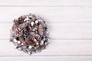 Christmas wreath on wood desk