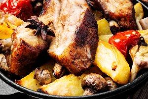 Roasted sliced barbecue pork ribs