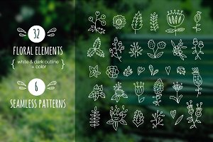 32 floral elements + patterns