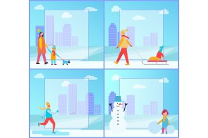 Winter Activities Collection Vector