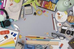Top view creative retro messy desk