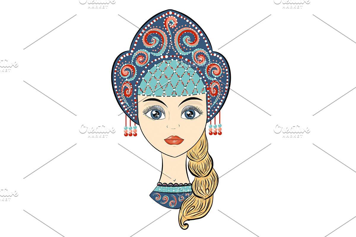 Vector  Beautiful Russian girl