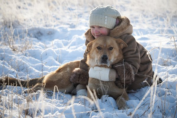 The child hugs the dog. Very cold