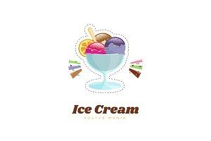 Ice cream, vector illustration