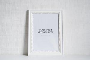 White frame mockup - PSD + Jpeg
