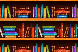 Wooden bookshelves with books
