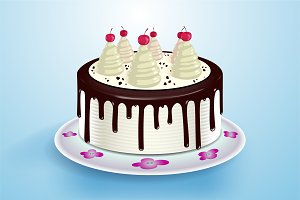 Cake with cream, chocolate topping