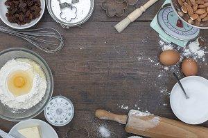 Retro kitchen baking ingredients