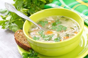 Homemade soup with vermicelli and