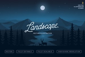 Deers and the Landscape Vector