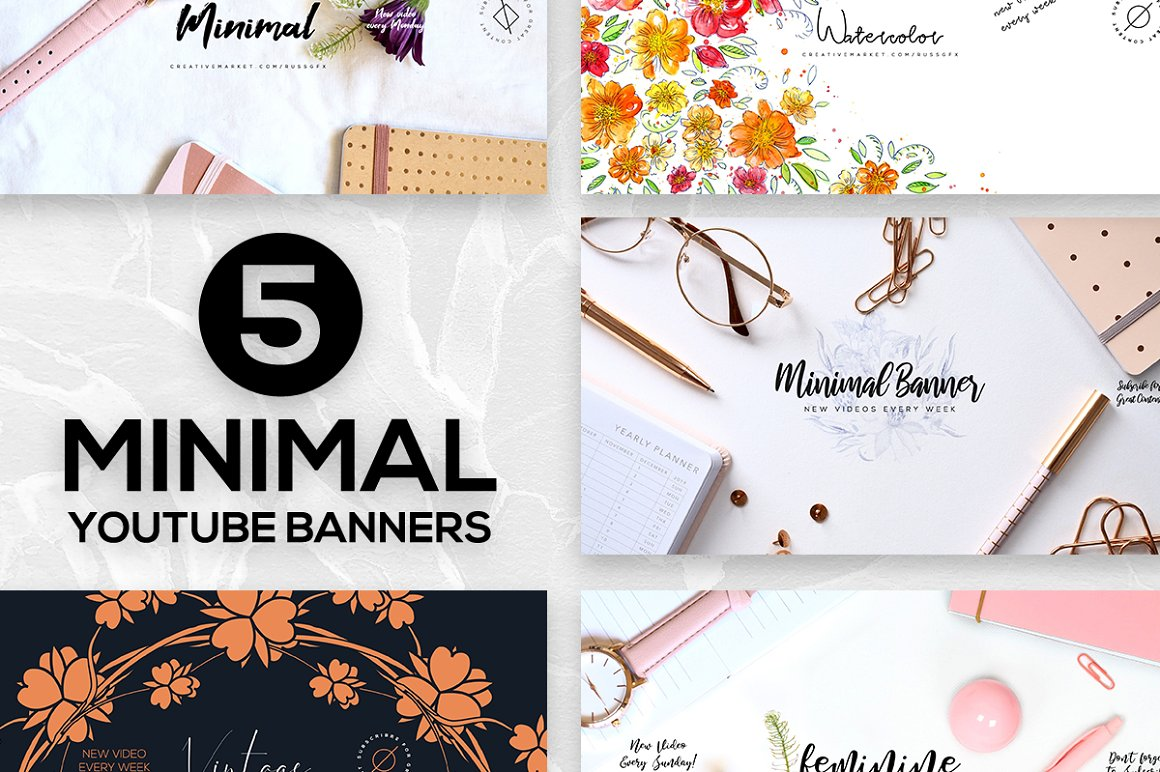 5 Minimal Youtube Banners