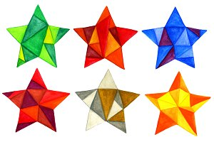 6 watercolor triangles stars
