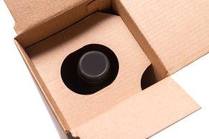 Vine bottle inside of carton box